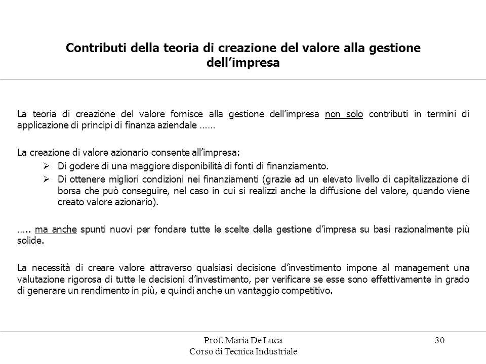 Prof. Maria De Luca Corso di Tecnica Industriale 30 Contributi della teoria di creazione del valore alla gestione dellimpresa La teoria di creazione d