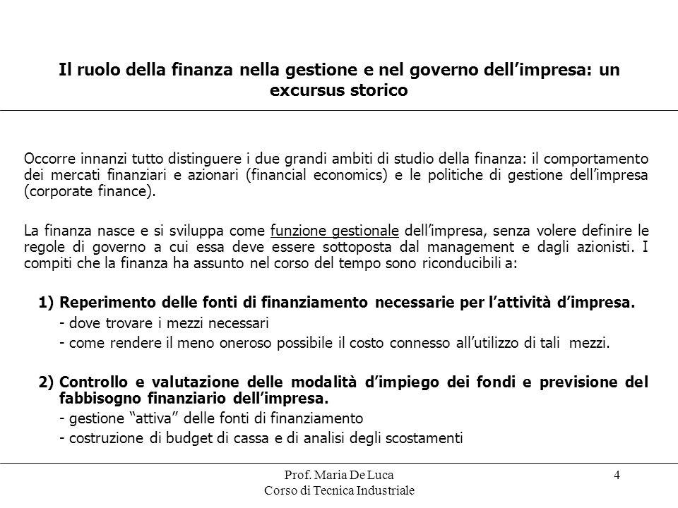 Prof. Maria De Luca Corso di Tecnica Industriale 4 Il ruolo della finanza nella gestione e nel governo dellimpresa: un excursus storico Occorre innanz