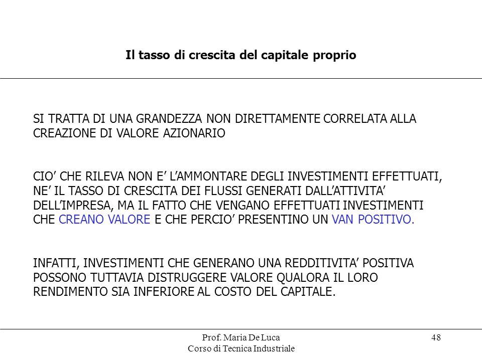 Prof. Maria De Luca Corso di Tecnica Industriale 48 Il tasso di crescita del capitale proprio SI TRATTA DI UNA GRANDEZZA NON DIRETTAMENTE CORRELATA AL
