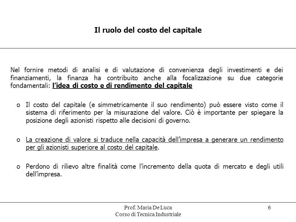 Prof. Maria De Luca Corso di Tecnica Industriale 6 Il ruolo del costo del capitale Nel fornire metodi di analisi e di valutazione di convenienza degli