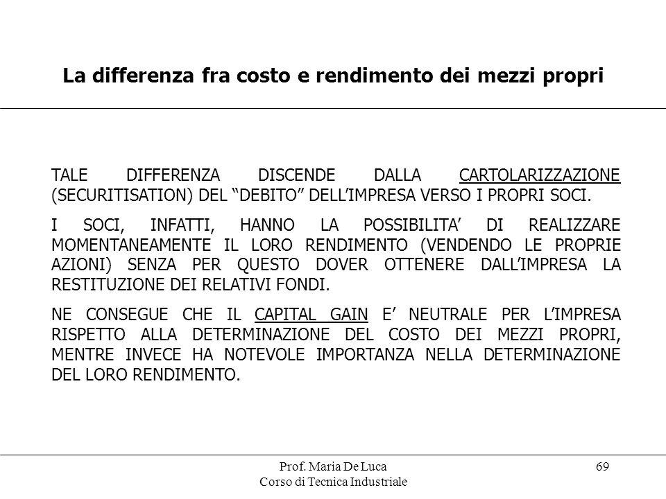 Prof. Maria De Luca Corso di Tecnica Industriale 69 La differenza fra costo e rendimento dei mezzi propri TALE DIFFERENZA DISCENDE DALLA CARTOLARIZZAZ