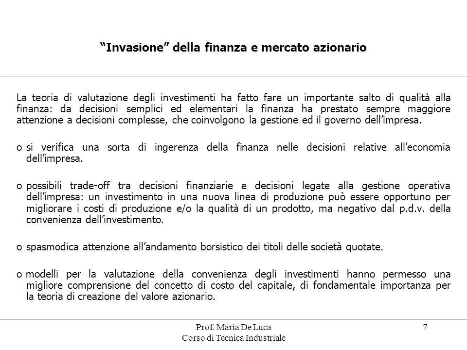 Prof. Maria De Luca Corso di Tecnica Industriale 7 Invasione della finanza e mercato azionario La teoria di valutazione degli investimenti ha fatto fa