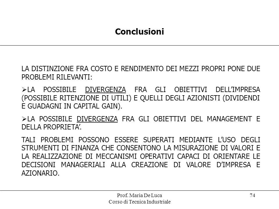 Prof. Maria De Luca Corso di Tecnica Industriale 74 Conclusioni LA DISTINZIONE FRA COSTO E RENDIMENTO DEI MEZZI PROPRI PONE DUE PROBLEMI RILEVANTI: LA