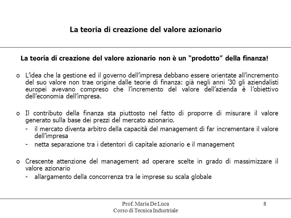 Prof. Maria De Luca Corso di Tecnica Industriale 8 La teoria di creazione del valore azionario La teoria di creazione del valore azionario non è un pr