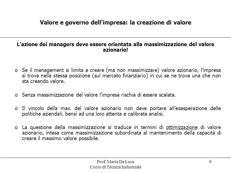 Prof. Maria De Luca Corso di Tecnica Industriale 9 Valore e governo dellimpresa: la creazione di valore Lazione dei managers deve essere orientata all