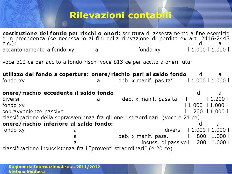 Ragioneria Internazionale a.a. 2011/2012 Stefano Santucci Rilevazioni contabili costituzione del fondo per rischi o oneri: scrittura di assestamento a