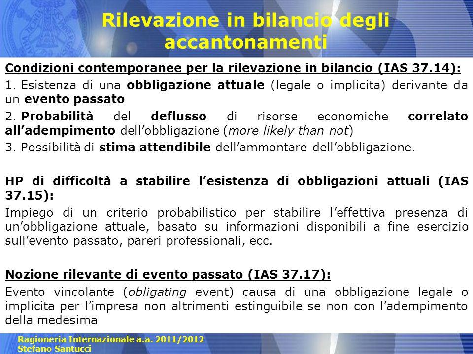 Ragioneria Internazionale a.a. 2011/2012 Stefano Santucci Rilevazione in bilancio degli accantonamenti Condizioni contemporanee per la rilevazione in