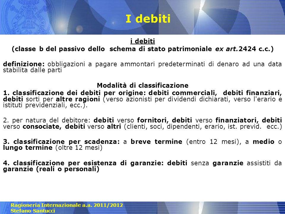 Ragioneria Internazionale a.a. 2011/2012 Stefano Santucci I debiti i debiti (classe b del passivo dello schema di stato patrimoniale ex art.2424 c.c.)