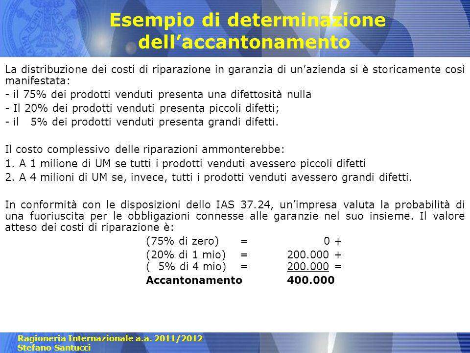 Ragioneria Internazionale a.a. 2011/2012 Stefano Santucci Esempio di determinazione dellaccantonamento La distribuzione dei costi di riparazione in ga