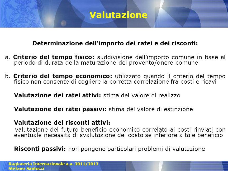 Ragioneria Internazionale a.a. 2011/2012 Stefano Santucci Valutazione Determinazione dellimporto dei ratei e dei risconti: a. Criterio del tempo fisic