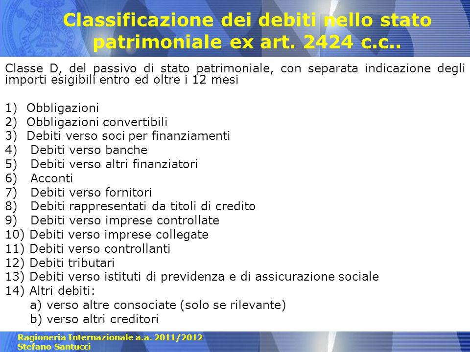 Ragioneria Internazionale a.a. 2011/2012 Stefano Santucci Classificazione dei debiti nello stato patrimoniale ex art. 2424 c.c.. Classe D, del passivo
