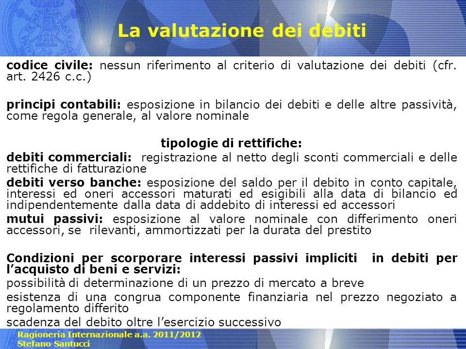 Ragioneria Internazionale a.a. 2011/2012 Stefano Santucci La valutazione dei debiti codice civile: nessun riferimento al criterio di valutazione dei d