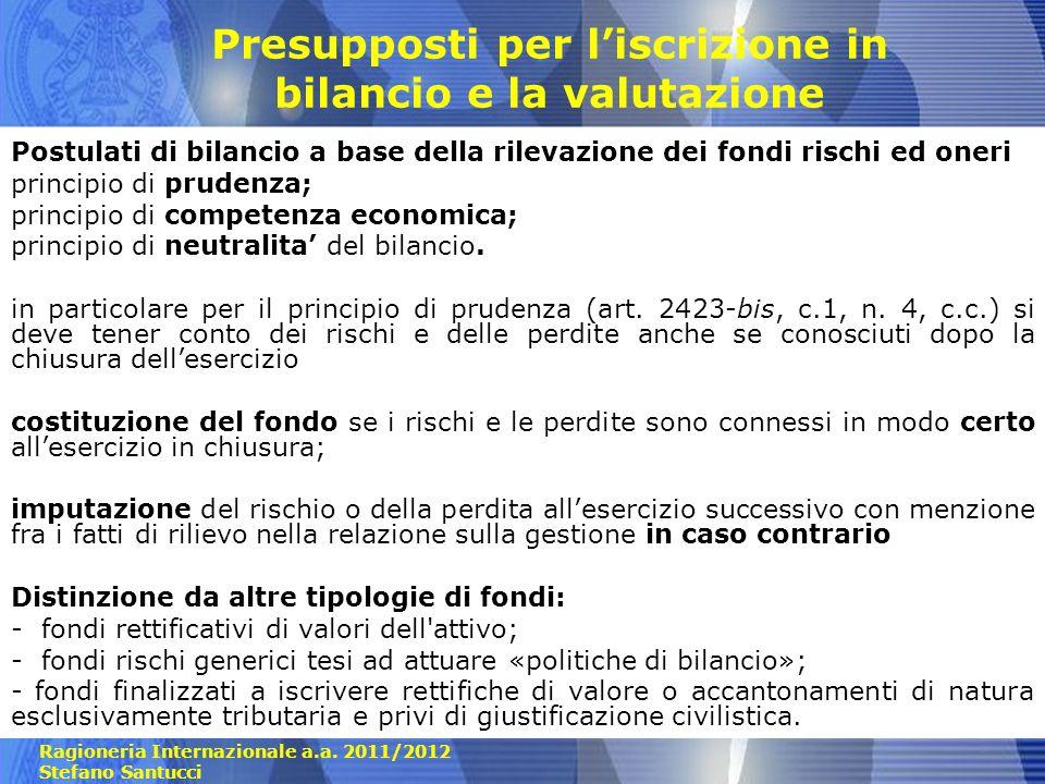 Ragioneria Internazionale a.a. 2011/2012 Stefano Santucci Presupposti per liscrizione in bilancio e la valutazione Postulati di bilancio a base della