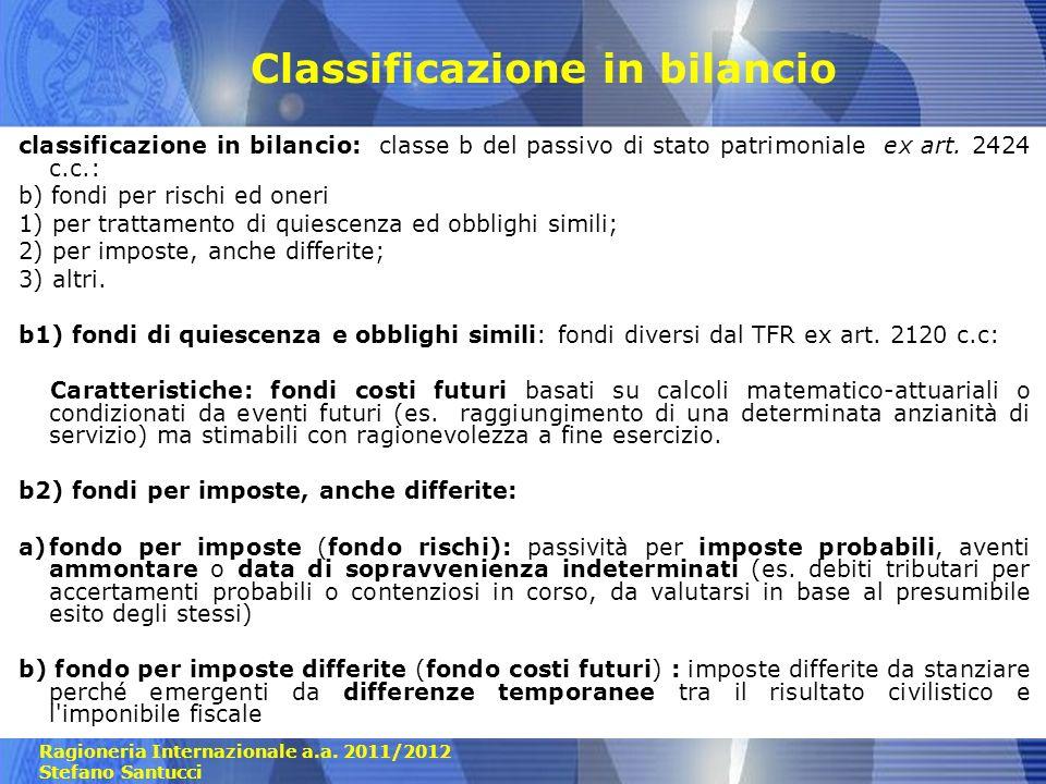 Ragioneria Internazionale a.a. 2011/2012 Stefano Santucci Classificazione in bilancio classificazione in bilancio: classe b del passivo di stato patri