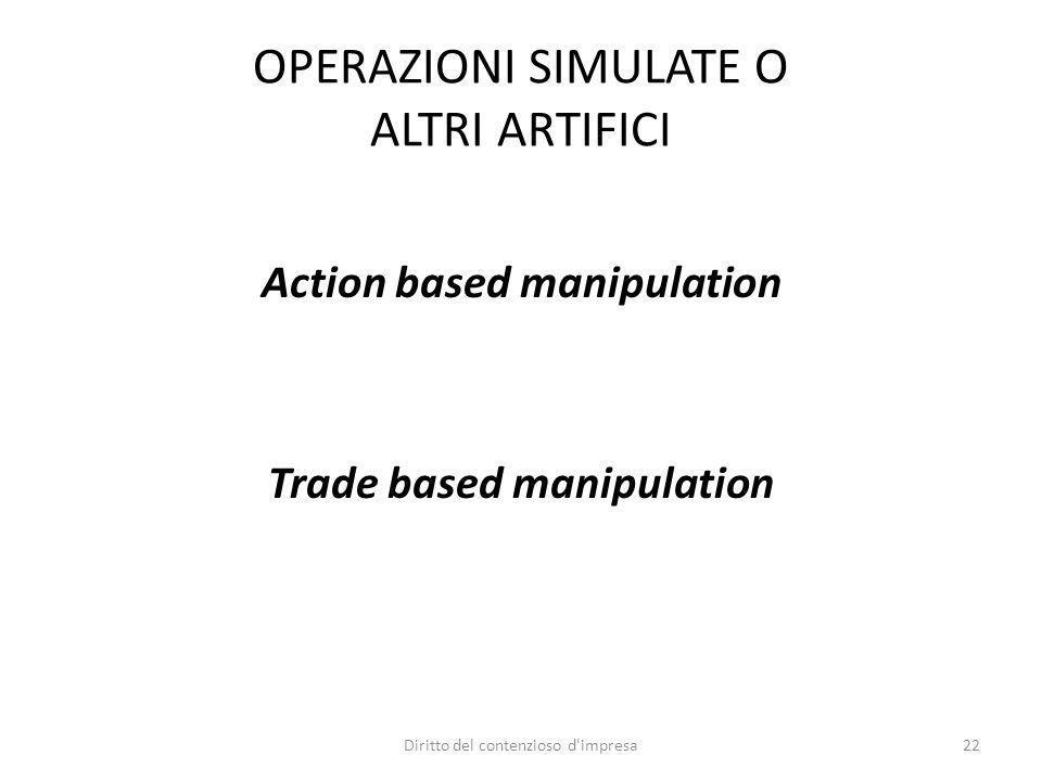 OPERAZIONI SIMULATE O ALTRI ARTIFICI Action based manipulation Trade based manipulation 22Diritto del contenzioso d'impresa