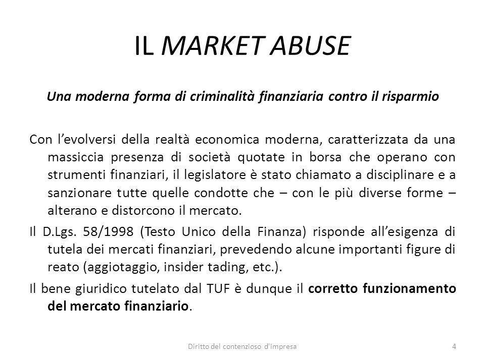 IL MARKET ABUSE Una moderna forma di criminalità finanziaria contro il risparmio Con levolversi della realtà economica moderna, caratterizzata da una