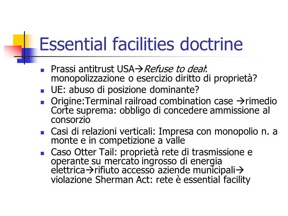 Essential facility doctrine II MCI Comm v.AT&T corte dappello impone accesso a rete locale AT&T per consentire terminazione telefonate inter.