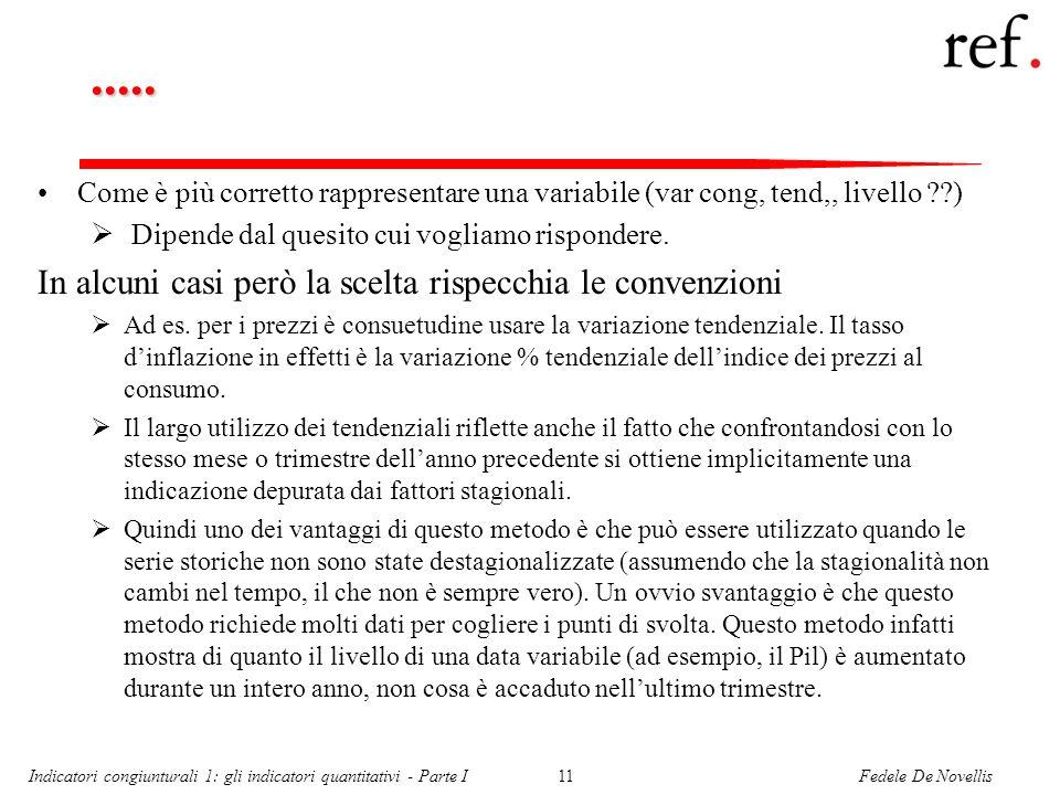 Fedele De NovellisIndicatori congiunturali 1: gli indicatori quantitativi - Parte I11..... Come è più corretto rappresentare una variabile (var cong,