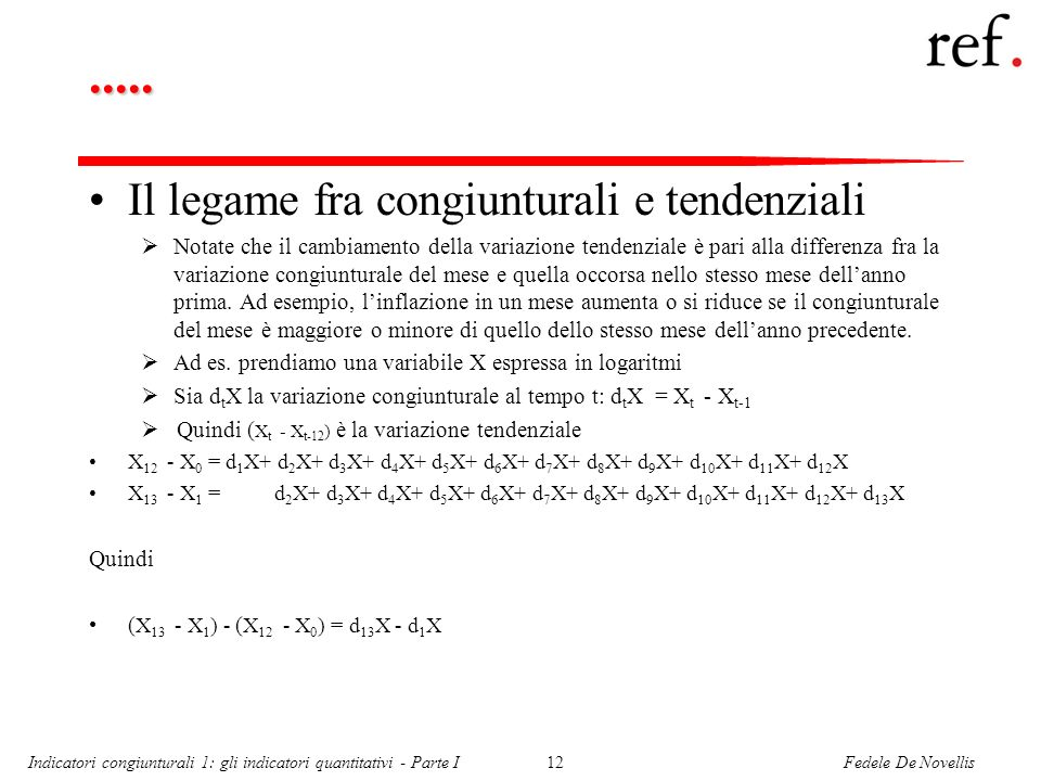 Fedele De NovellisIndicatori congiunturali 1: gli indicatori quantitativi - Parte I12..... Il legame fra congiunturali e tendenziali Notate che il cam