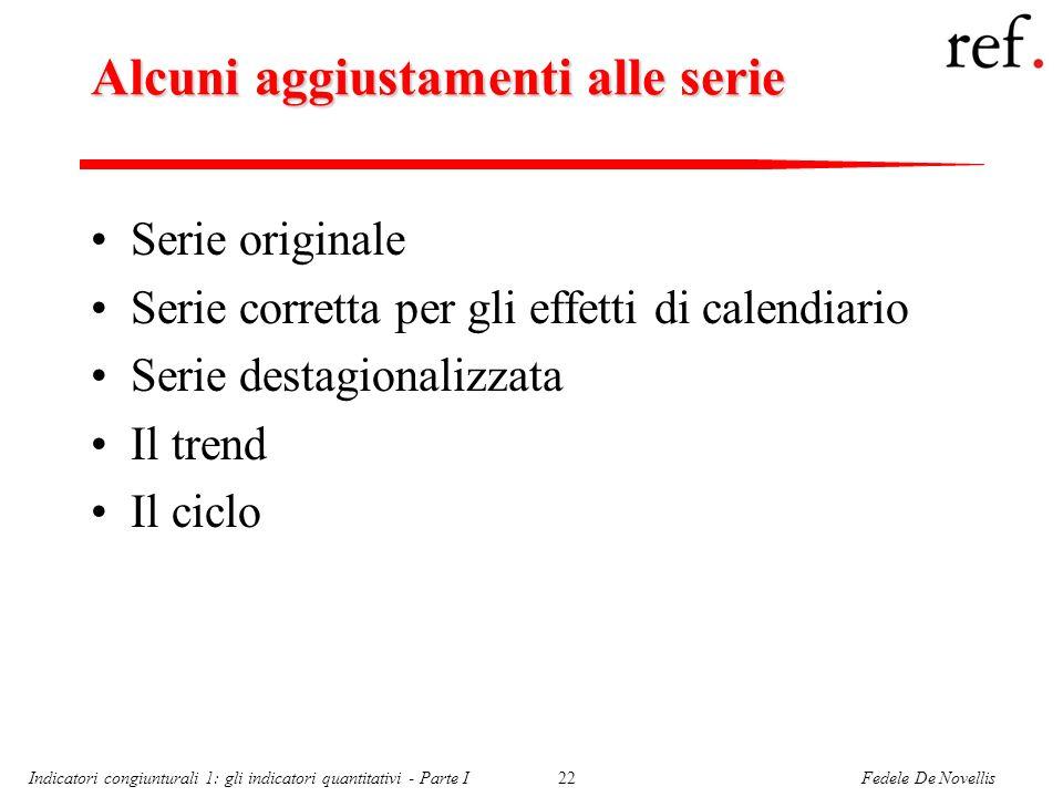 Fedele De NovellisIndicatori congiunturali 1: gli indicatori quantitativi - Parte I22 Alcuni aggiustamenti alle serie Serie originale Serie corretta p