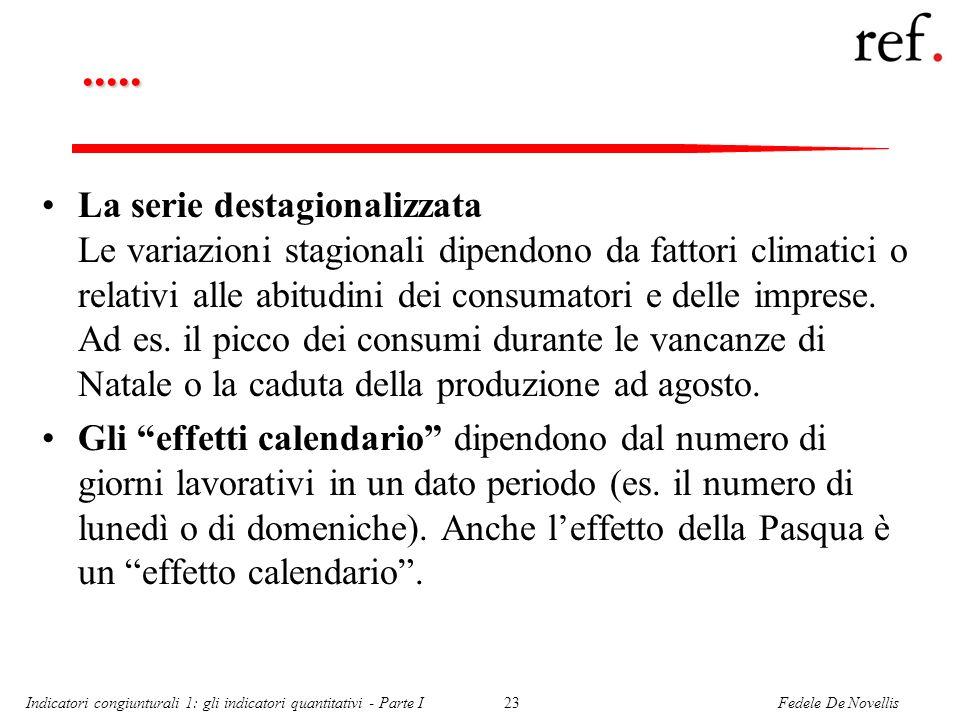 Fedele De NovellisIndicatori congiunturali 1: gli indicatori quantitativi - Parte I23..... La serie destagionalizzata Le variazioni stagionali dipendo