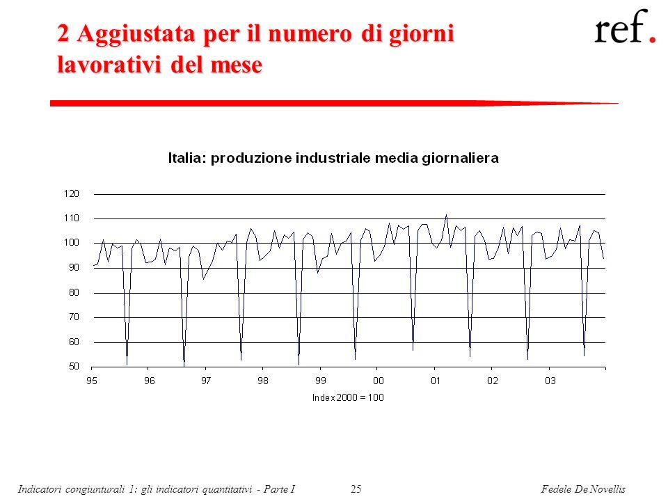 Fedele De NovellisIndicatori congiunturali 1: gli indicatori quantitativi - Parte I25 2 Aggiustata per il numero di giorni lavorativi del mese