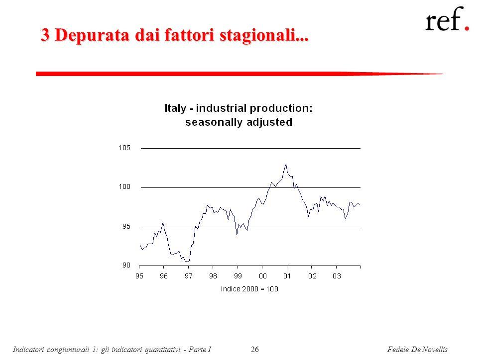 Fedele De NovellisIndicatori congiunturali 1: gli indicatori quantitativi - Parte I26 3 Depurata dai fattori stagionali...