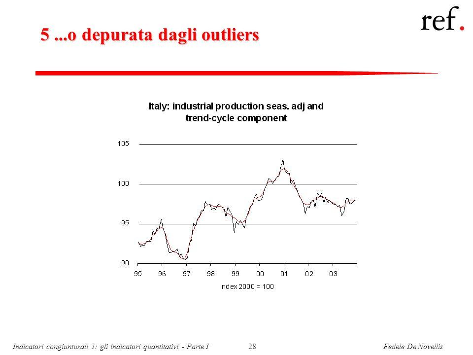 Fedele De NovellisIndicatori congiunturali 1: gli indicatori quantitativi - Parte I28 5...o depurata dagli outliers