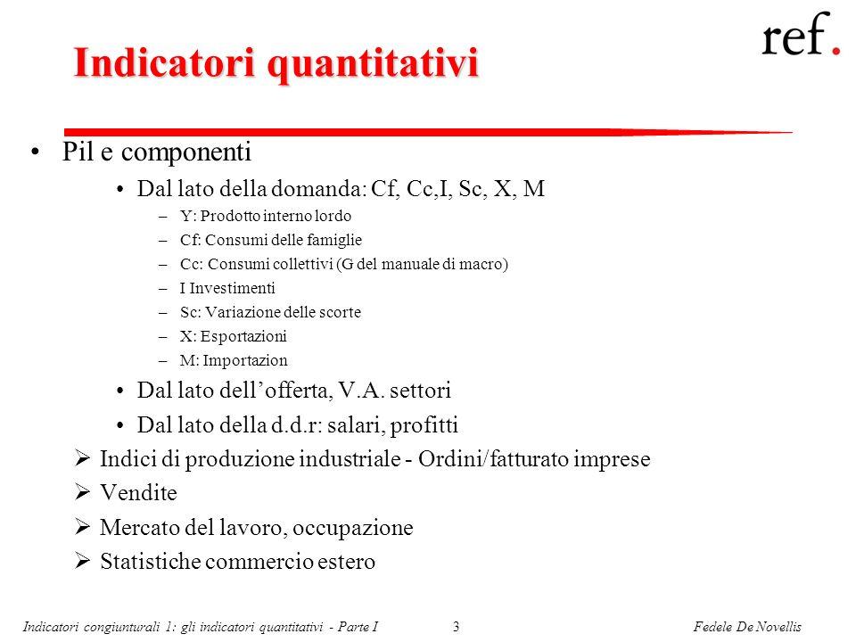 Fedele De NovellisIndicatori congiunturali 1: gli indicatori quantitativi - Parte I3 Indicatori quantitativi Pil e componenti Dal lato della domanda: