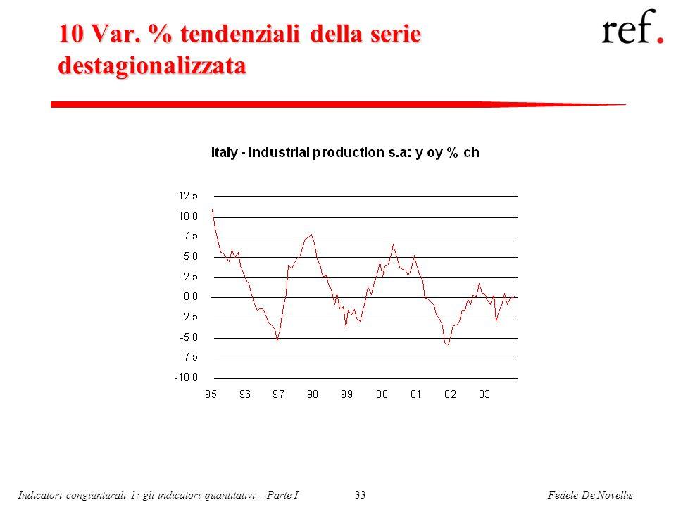 Fedele De NovellisIndicatori congiunturali 1: gli indicatori quantitativi - Parte I33 10 Var. % tendenziali della serie destagionalizzata