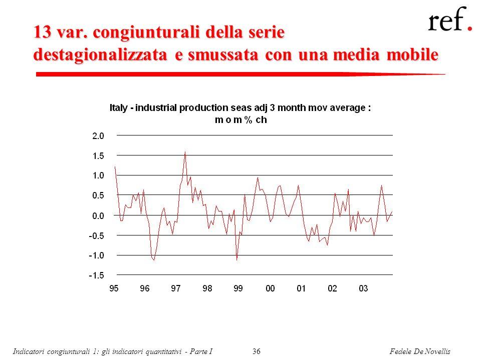 Fedele De NovellisIndicatori congiunturali 1: gli indicatori quantitativi - Parte I36 13 var. congiunturali della serie destagionalizzata e smussata c