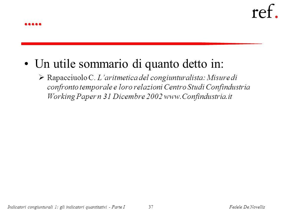 Fedele De NovellisIndicatori congiunturali 1: gli indicatori quantitativi - Parte I37..... Un utile sommario di quanto detto in: Rapacciuolo C. Laritm