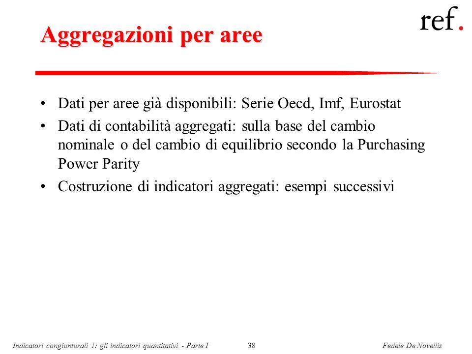 Fedele De NovellisIndicatori congiunturali 1: gli indicatori quantitativi - Parte I38 Aggregazioni per aree Dati per aree già disponibili: Serie Oecd,