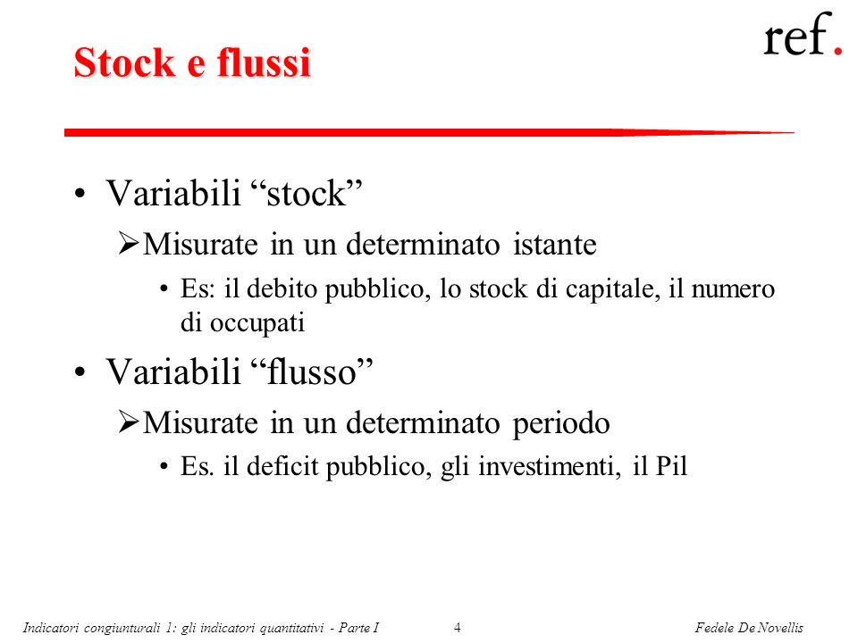 Fedele De NovellisIndicatori congiunturali 1: gli indicatori quantitativi - Parte I4 Stock e flussi Variabili stock Misurate in un determinato istante