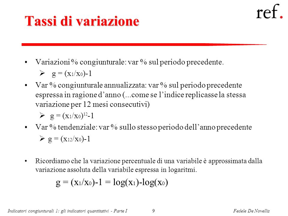 Fedele De NovellisIndicatori congiunturali 1: gli indicatori quantitativi - Parte I9 Tassi di variazione Variazioni % congiunturale: var % sul periodo