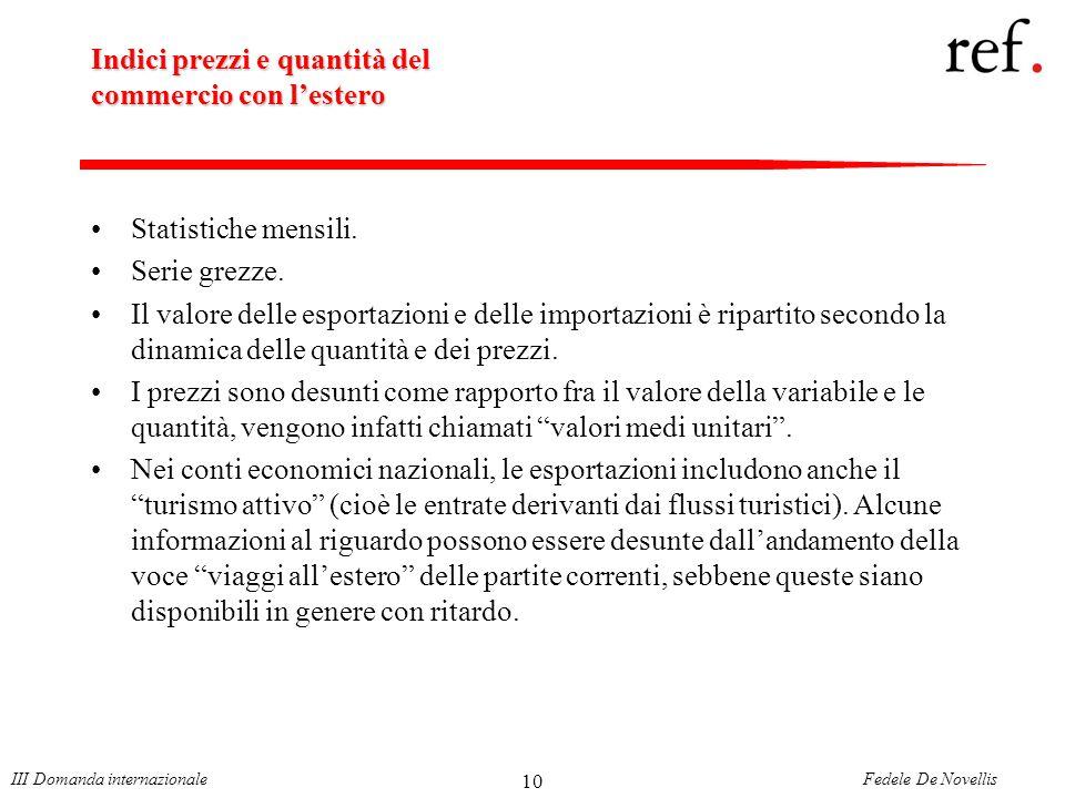 Fedele De NovellisIII Domanda internazionale 10 Indici prezzi e quantità del commercio con lestero Statistiche mensili.