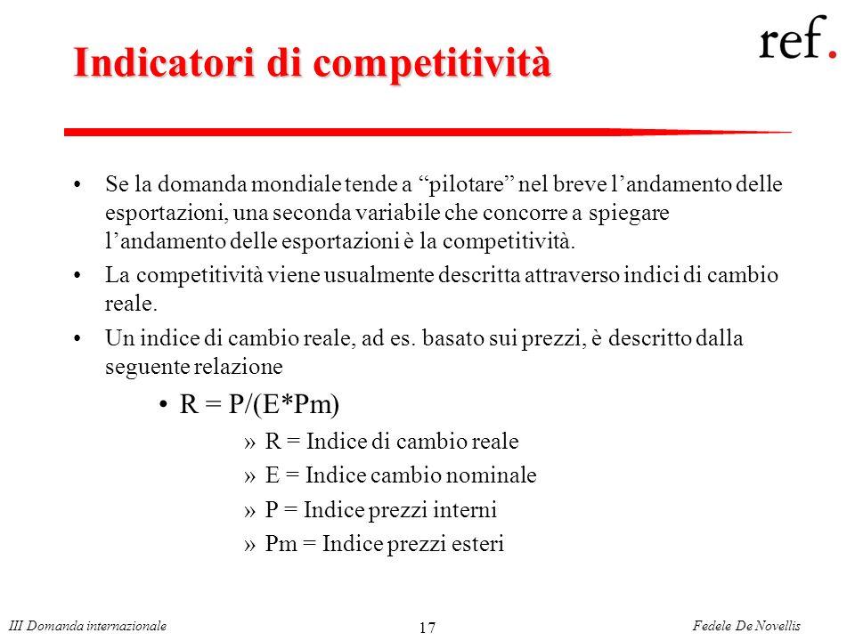 Fedele De NovellisIII Domanda internazionale 17 Indicatori di competitività Se la domanda mondiale tende a pilotare nel breve landamento delle esportazioni, una seconda variabile che concorre a spiegare landamento delle esportazioni è la competitività.