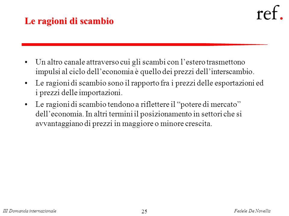 Fedele De NovellisIII Domanda internazionale 25 Le ragioni di scambio Un altro canale attraverso cui gli scambi con lestero trasmettono impulsi al ciclo delleconomia è quello dei prezzi dellinterscambio.