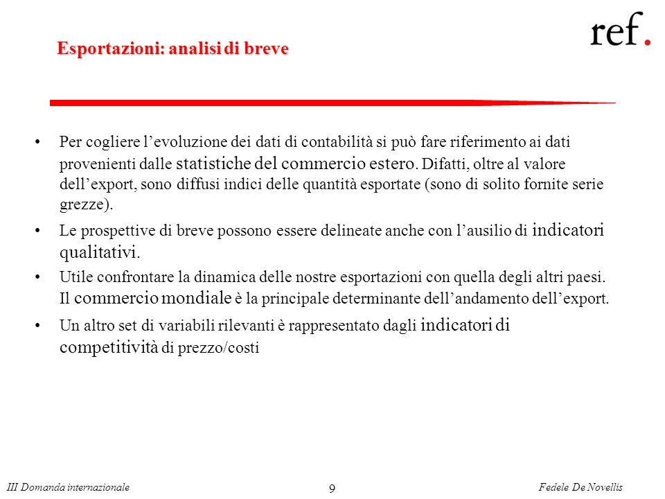 Fedele De NovellisIII Domanda internazionale 9 Esportazioni: analisi di breve Per cogliere levoluzione dei dati di contabilità si può fare riferimento ai dati provenienti dalle statistiche del commercio estero.