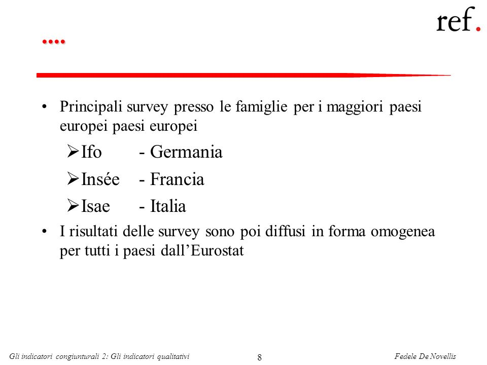 Fedele De NovellisGli indicatori congiunturali 2: Gli indicatori qualitativi 8....