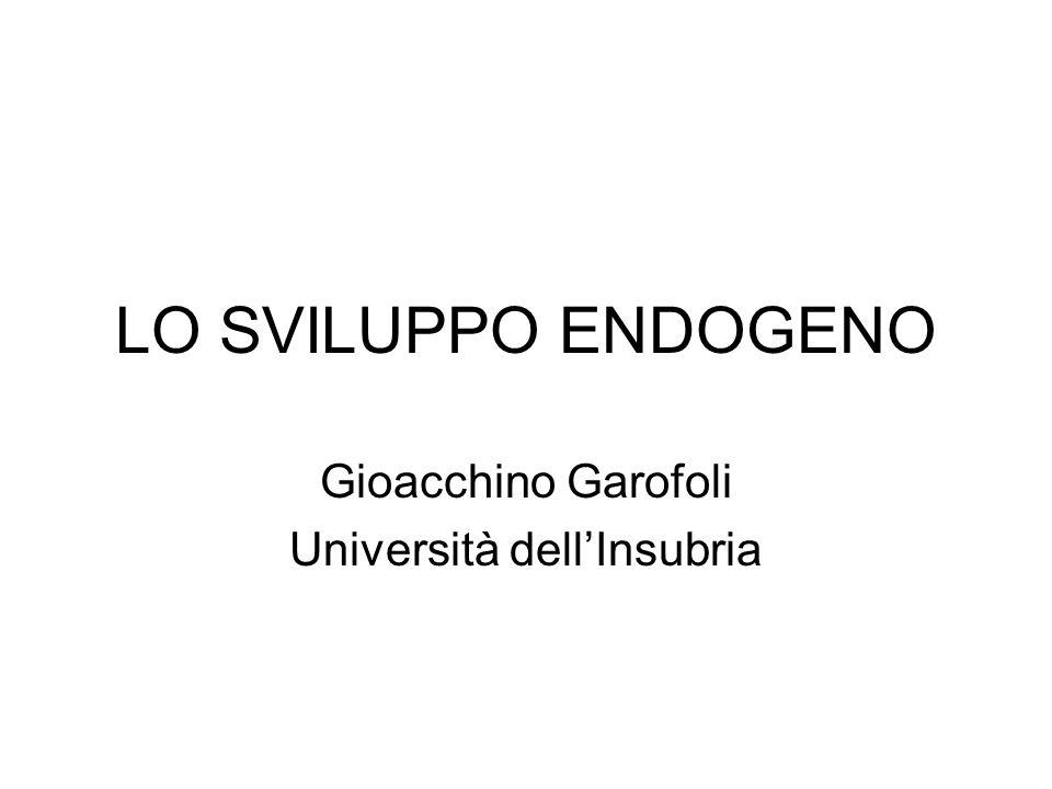 LO SVILUPPO ENDOGENO Gioacchino Garofoli Università dellInsubria
