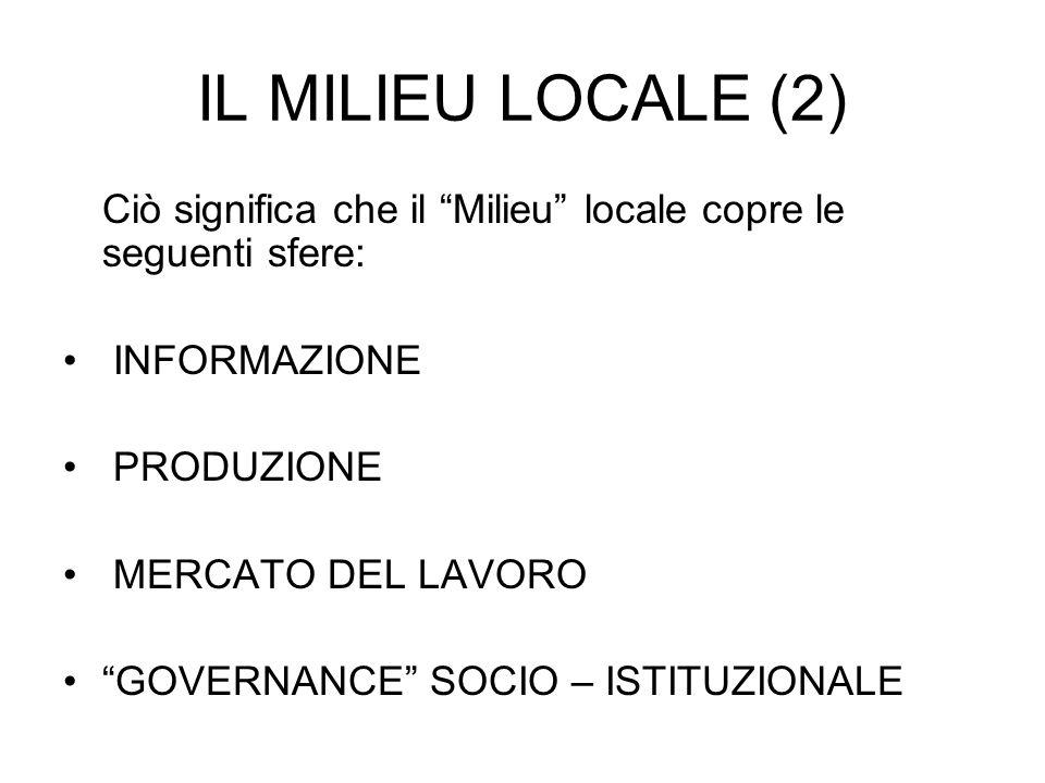 IL MILIEU LOCALE (2) Ciò significa che il Milieu locale copre le seguenti sfere: INFORMAZIONE PRODUZIONE MERCATO DEL LAVORO GOVERNANCE SOCIO – ISTITUZIONALE