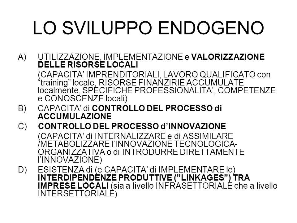 LO SVILUPPO ENDOGENO A)UTILIZZAZIONE, IMPLEMENTAZIONE e VALORIZZAZIONE DELLE RISORSE LOCALI (CAPACITA IMPRENDITORIALI, LAVORO QUALIFICATO con training locale, RISORSE FINANZIRIE ACCUMULATE localmente, SPECIFICHE PROFESSIONALITA, COMPETENZE e CONOSCENZE locali) B)CAPACITA di CONTROLLO DEL PROCESSO di ACCUMULAZIONE C) CONTROLLO DEL PROCESSO dINNOVAZIONE (CAPACITA di INTERNALIZZARE e di ASSIMILARE /METABOLIZZARE lINNOVAZIONE TECNOLOGICA- ORGANIZZATIVA o di INTRODURRE DIRETTAMENTE lINNOVAZIONE) D) ESISTENZA di (e CAPACITA di IMPLEMENTARE le) INTERDIPENDENZE PRODUTTIVE (LINKAGES) TRA IMPRESE LOCALI (sia a livello INFRASETTORIALE che a livello INTERSETTORIALE )