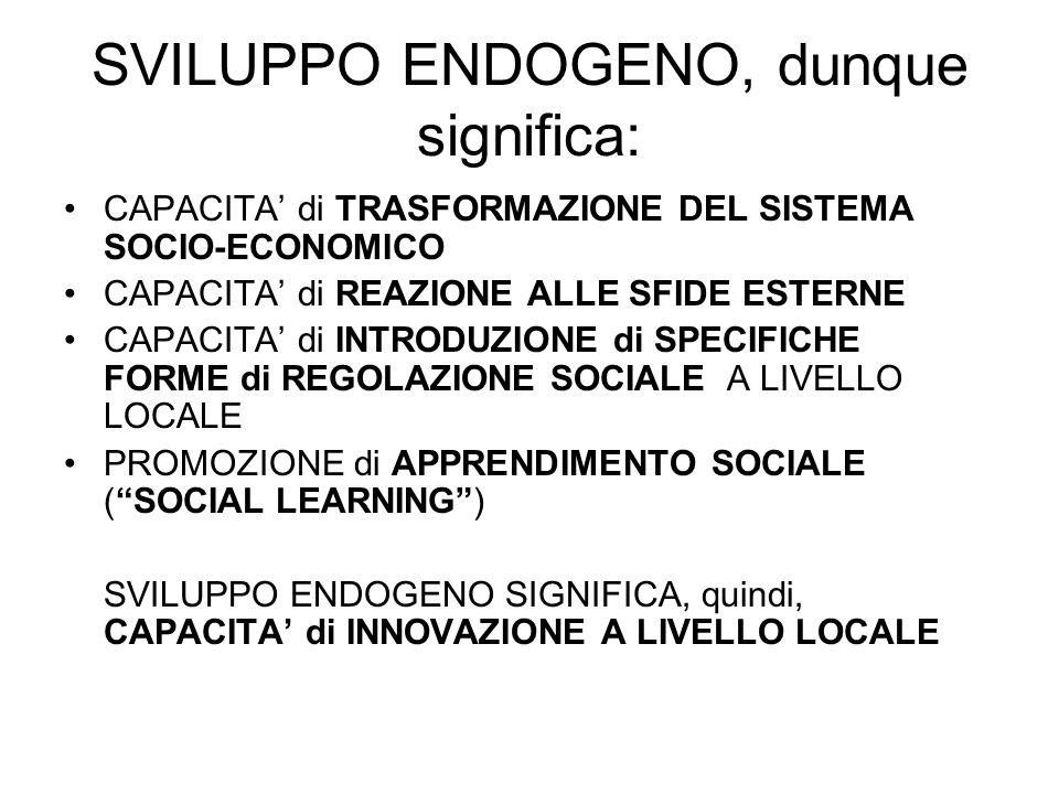 SVILUPPO ENDOGENO, dunque significa: CAPACITA di TRASFORMAZIONE DEL SISTEMA SOCIO-ECONOMICO CAPACITA di REAZIONE ALLE SFIDE ESTERNE CAPACITA di INTRODUZIONE di SPECIFICHE FORME di REGOLAZIONE SOCIALE A LIVELLO LOCALE PROMOZIONE di APPRENDIMENTO SOCIALE (SOCIAL LEARNING) SVILUPPO ENDOGENO SIGNIFICA, quindi, CAPACITA di INNOVAZIONE A LIVELLO LOCALE