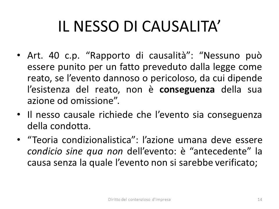 IL NESSO DI CAUSALITA Art. 40 c.p. Rapporto di causalità: Nessuno può essere punito per un fatto preveduto dalla legge come reato, se levento dannoso