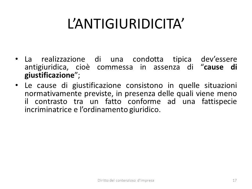 LANTIGIURIDICITA La realizzazione di una condotta tipica devessere antigiuridica, cioè commessa in assenza di cause di giustificazione; Le cause di gi