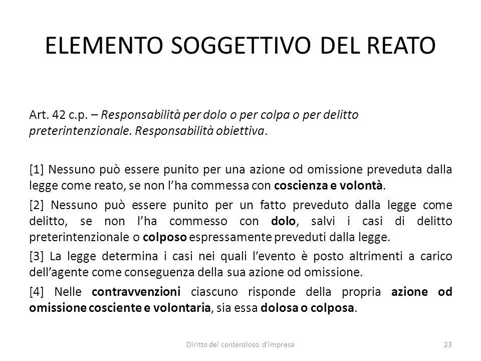 ELEMENTO SOGGETTIVO DEL REATO Art. 42 c.p. – Responsabilità per dolo o per colpa o per delitto preterintenzionale. Responsabilità obiettiva. [1] Nessu