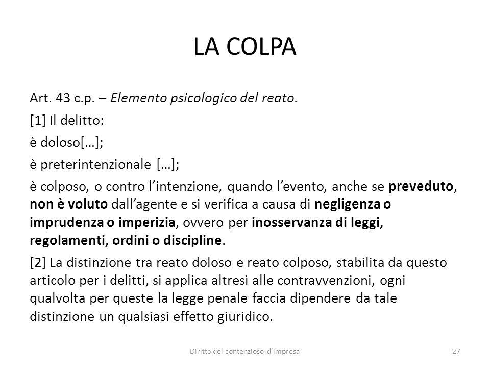 LA COLPA Art. 43 c.p. – Elemento psicologico del reato. [1] Il delitto: è doloso[…]; è preterintenzionale […]; è colposo, o contro lintenzione, quando