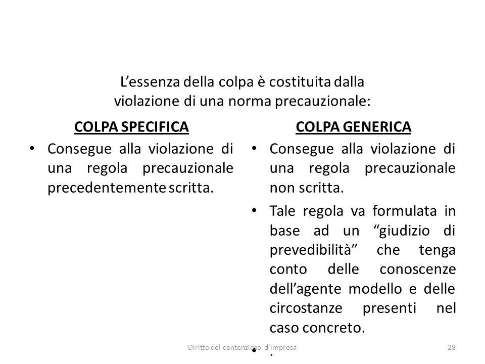 COLPA SPECIFICA Consegue alla violazione di una regola precauzionale precedentemente scritta. COLPA GENERICA Consegue alla violazione di una regola pr