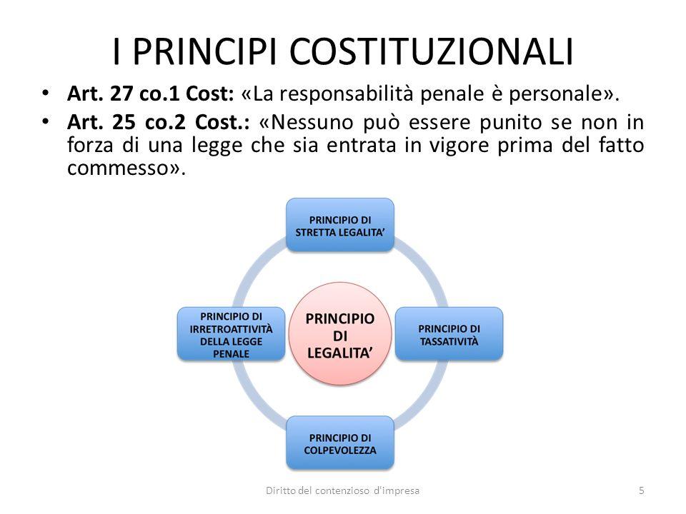 I PRINCIPI COSTITUZIONALI Art. 27 co.1 Cost: «La responsabilità penale è personale». Art. 25 co.2 Cost.: «Nessuno può essere punito se non in forza di